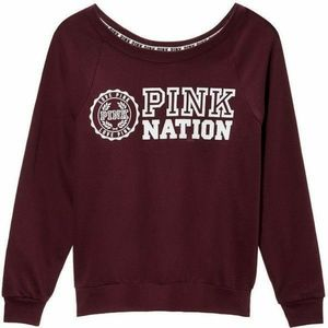 PINK Maroon Pink Nation Pullover Sweatshirt